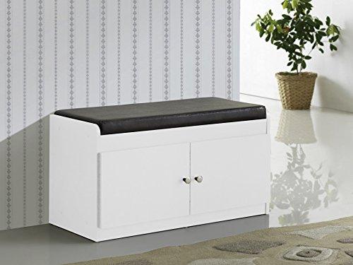 Baxton Studio Margaret & Modern Holz Schuhschrank mit Kunstleder Sitzbank, weiß