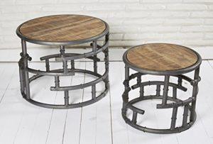 2er Set Beistelltische Satztische Couchtische Nierentische Holz Metall im Retro- bzw. Industriedesign