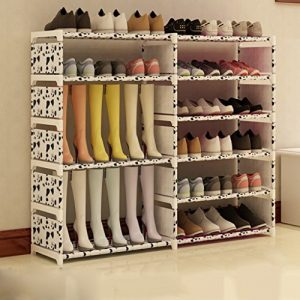 Hoher Schuh-Organisator-Edelstahl-faltbarer Schuh-Kasten-Organisator-Speicher-Stand 6 Tier-Speicher-Halter Für Stiefel Shoes120 * 85 * 30cm ( Farbe : Weiß )