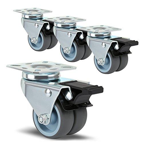 LIHAO 4x Möbelrollen mit Bremse Strandkorbrollen Doppelrollen Rasen Rollen für Möbel