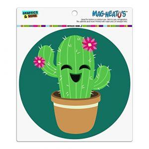 Niedliche Kaktus im Topf mit rosa Blumen Automotive Car Kühlschrank Locker Vinyl Kreis Magnet