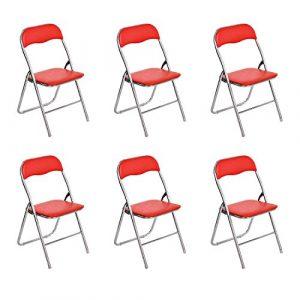 Klappstühle fanilife Set von 6Metall Faltbare Esszimmerstühle mit PVC Sitz Retro Office Empfang Garten, der faltbar Schreibtisch-Stühle rot