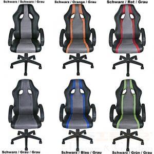 ESTEXO® Bürostuhl Racing Drehstuhl Schreibtischstuhl Chefsessel Bürosessel Stuhl (Schwarz / Grau / Grau)