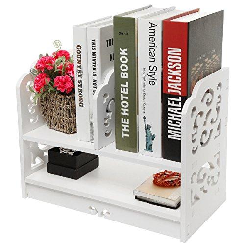 Weiß durchbrochen freistehend Bücherregal/Schreibtisch Top Organisation Caddy/Stationärer Stauraum–MyGift