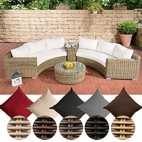 CLP Poly-Rattan Garten Lounge Set rund, BARBADOS, 2x 3er-Sofa, Glastisch rund Ø 80 cm, 6 Sitzplätze Bezugfarbe cremeweiss, Rattan Farbe natura