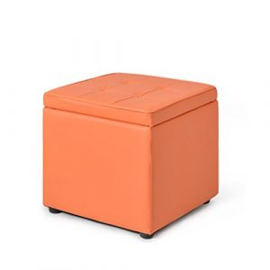 Stool Health UK Hocker Cubes Brown Holz Lagerung Hocker Schuhe Hocker Kleine Kunstleder Toy Box Sofa Hocker Finishing Box 40 X 40 X 40 CM Welcome (Farbe : Orange)