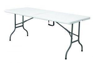 Expand Klapptisch 183cm Weiß – Buffettisch, Gartentisch, Campingtisch, Partytisch – Klappbar – Wasserfest – Kunststoff