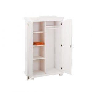 2-türiger Kleiderschrank HEDDA massiv in weiß