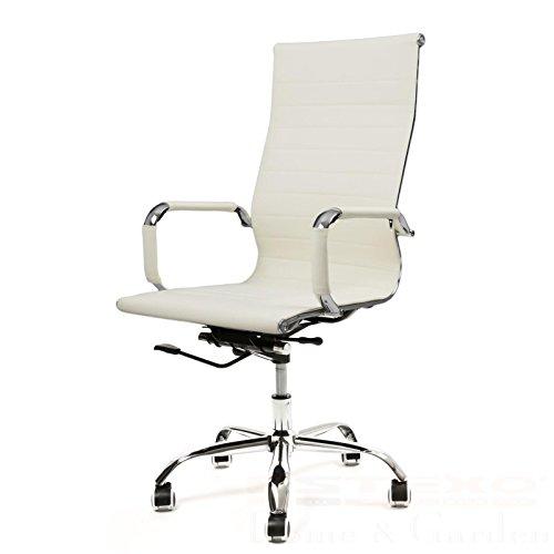 Bürostuhl beige Kunstleder Drehstuhl Schreibtischstuhl Chefsessel Bürosessel