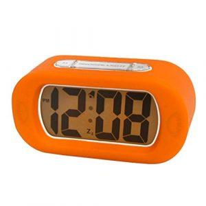 Tinksky digitaler Reisewecker, orange mit Hintergrundbeleuchtung, Stummschaltung und Schlummerfunktion