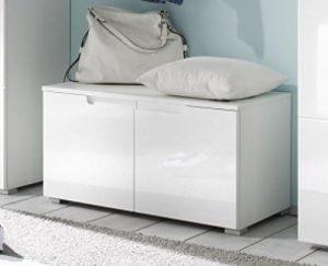 AVANTI TRENDSTORE – SPILLA – Schuhkommode mit 2 Türen, weiß/weiß Hochglanz Dekor, ca 80x43x40cm