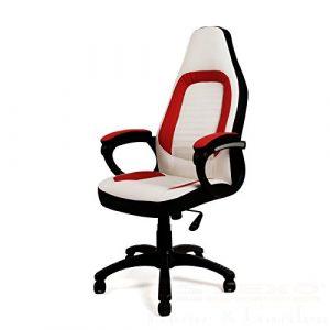 Bürostuhl Schreibtischstuhl Design Drehstuhl Stuhl weiß / rot Drehsessel