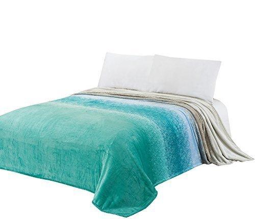Kuscheldecke CaliTime Super Soft Decke für Bett Sofa Couch, gemütliche warme Flanell Fleece Gradient Ombre Rainbow Streifen, grau zu Teal, König