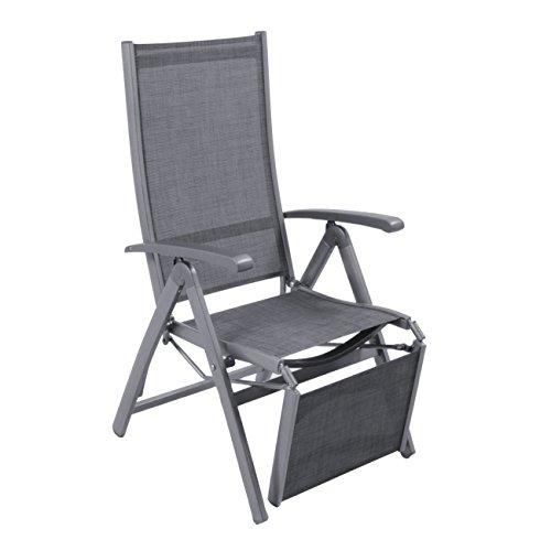 OUTLIV. Klappliegestuhl Garten Relaxliege Liveda Liegestuhl mit Fußstütze klappbar Relaxliege Alu/Textilene Relaxsessel Eisengrau/Grau
