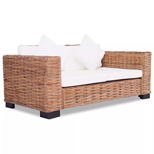 Festnight Lounge Sofa Gartensofa Gartenmöbel 7-tlg. Rattan Natur