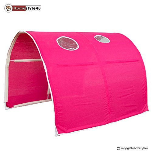 Homestyle4u Kinder Tunnel Bed Design, Holz,,, holz, rot, 100 x 90 x 70 cm