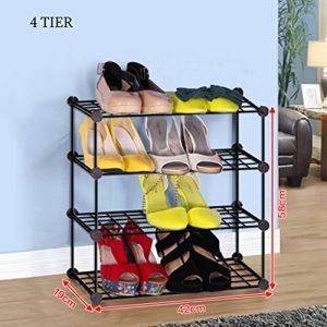 Einfacher Schwarzer Faltbarer Schuh-Kasten-Organisator-Leichtgewicht-Schuh-Lagerregal-Badezimmer-Tür-Hall Entryway 3 Bis 8 Tier ( größe : 4 tier )