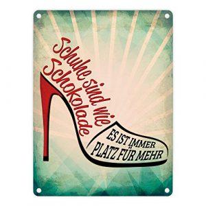 Metallschild mit Spruch: Schuhe sind wie Schokolade – es ist immer Platz für mehr – ein cooles Metallschild von trendaffe – passende weitere Begriffe dazu: Schuhe Schuhsammler Schokolade Schuhkolade Sammeln Frauen Blechschild Schild Dekoration oder Dekoschild.