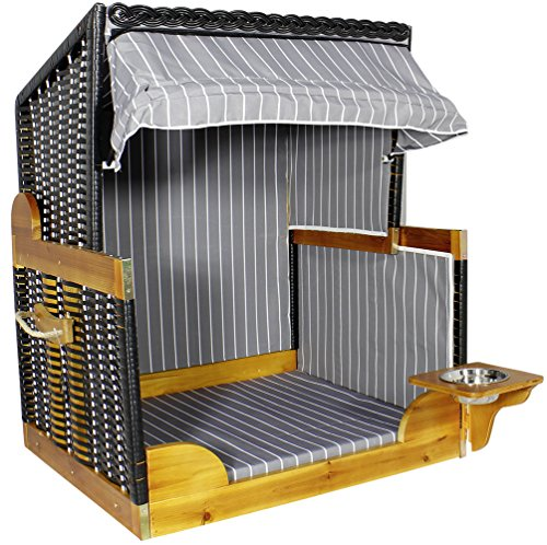 Strandkorb Hunde Tier-Bett mit Wasser-Napf PE Rattan Maritim Korb Garten Haus Anthrazit