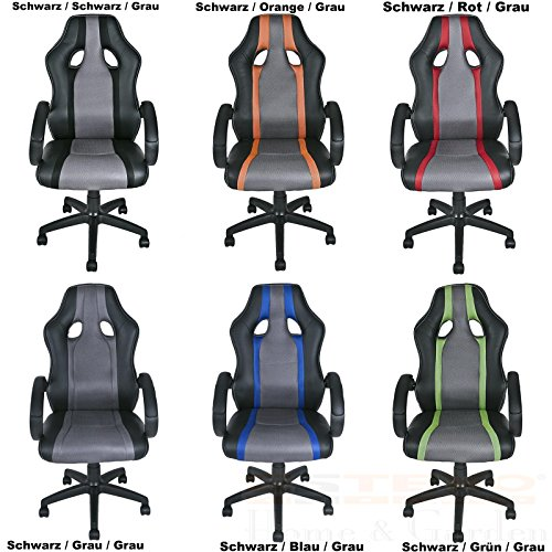 ESTEXO® Bürostuhl Racing Drehstuhl Schreibtischstuhl Chefsessel Bürosessel Stuhl (Schwarz / Rot / Grau)