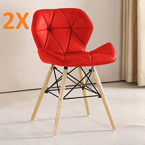 P & N Homewares® (Set von 2) Cecilia Eiffel millmead inspiriert Stuhl aus Kunststoff Retro Weiß Schwarz Grau Rot Esszimmerstuhl Büro Stuhl Lounge rot