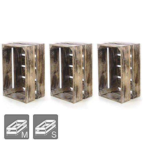 """Divero 3er-Set Vintage Holzkiste Braun geflammt Staubox Weinkiste Obstkiste Größe """"L"""" 51,5 x 36,5cm/Höhe 23cm Stapelbox Spielzeugkiste Regal-Box"""