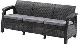 JUSTyou Corfu Max Sofa Couch Gartenbank Rattan 3-Sitzer Sofa in Rattan-Optik Anthrazit Grau