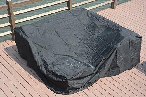 Direct Wicker 230 x 230 x 70cm Große wasserdichte Outdoor Regenhülle für Rattan Cube Gartenmöbel