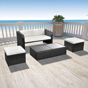 Festnight 9-teilige Garten Essgruppe aus Polyrattan Gartenmöbel-Set Sitzgruppe mit 1 Couchtisch + 1 Sofa + 2 Hocker + 3 Sitzkissen + 2 Rückenkissen – Schwarz