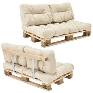 [en.casa] Palettensofa – 2-Sitzer mit Kissen – (beige/creme) komplettes Set inkl. Rückenlehne