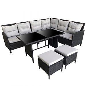 SVITA POLY RATTAN Set Rattan-Lounge Esstisch Gartenmöbel Gartenset Sofa Garnitur Couch-Eck (Schwarz + Grau)
