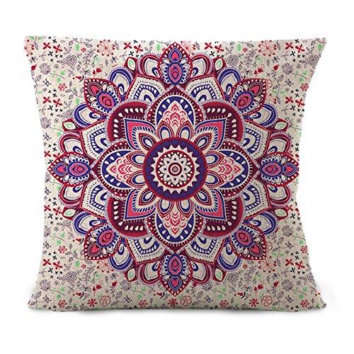 Hengjiang südostasiatischer ethnischer Stil mit Mandala-Serie, Baumwolle, Leinen-Kissenbezug mit Stuhl, für Home Sofa Bett Auto-Shop-Büro Dekor Purple Beige 01