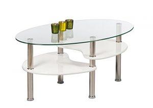 AVANTI TRENDSTORE – Patty – Couchtisch oval aus temperiertem Glas, weiß, BHT ca. 90x41x55 cm