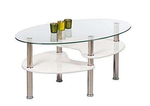 AVANTI TRENDSTORE - Patty - Couchtisch oval aus temperiertem Glas, weiß, BHT ca. 90x41x55 cm