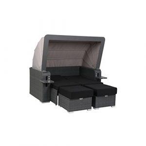 greemotion 128765 Gartensofa BAHIA LUX-Lounge Sofa mit Dach für Garten & Terrasse-Outdoor Daybed 2 Rattan Couch Hocker, Sitze & Lehne verstellbar, Grau, 17,5 x 11 x 8 cm