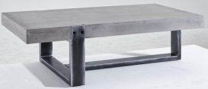 KAWOLA Couchtisch CORA Beistelltisch Beton/Rohstahl 122x36x61cm (B/H/T)