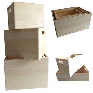 LS-LebenStil 3X Holz Allzweckkiste Aufbewahrungsbox Stapelbox Braun Stapelkiste Holzbox Holzkiste Regal Ordnung 3´er Set