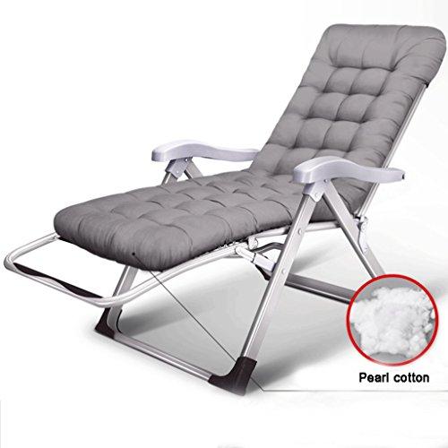 Stühle Camping-Stühle Klappstühle, Freizeit-im Freien Strandliege, Hauptmittagessen-Bruch-Justierbare Stühle L180cm * W60cm * H115cm (Silber, Gelb) (A+) (Farbe : Silber)