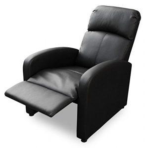 KMH®, Fernsehsessel / Relaxsessel *Patrick* – schwarz (Kunstlederbezug / verstellbar) (#204630))