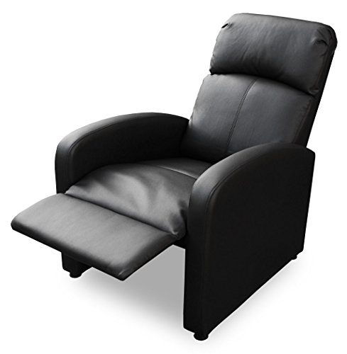 KMH®, Fernsehsessel / Relaxsessel *Patrick* - schwarz (Kunstlederbezug / verstellbar) (#204630))