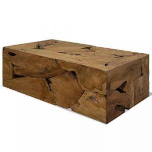 FZYHFA Couchtisch 90x 50x 35cm Echt Teak Moderner Couchtisch–Braun