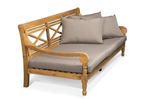 Lanterfant – Loungebank Roos, Relaxliege, Sofa, Kissen, Bett Teakfarbe und Taupe, 182x90x74 cm