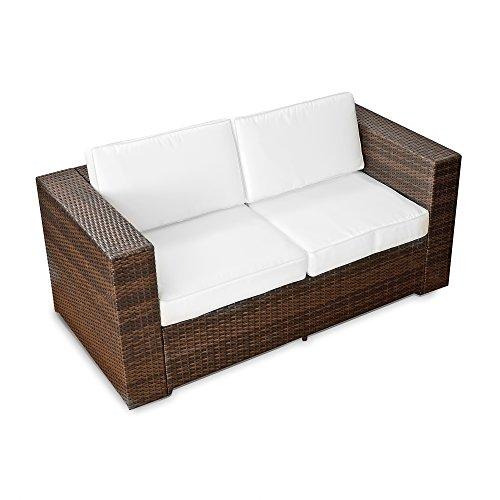 (2er) Polyrattan Lounge Möbel Sofa braun - Gartenmöbel (2er) Polyrattan Lounge Sofa, (2er) Polyrattan Lounge Couch, Polyrattan Bank - durch andere Polyrattan Lounge Gartenmöbel Elemente erweiterbar