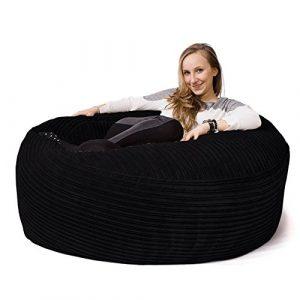 LOUNGE PUG®, 'Mammoth' Sofa Sitzsack XXL, Riesen Sessle, Cord Schwarz