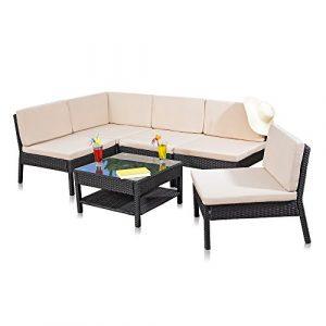 Melko Lounge Sofa-Garnitur Gartenset, Poly Rattan, mit Glastisch, Schwarz, inklusive Kissen, mehrteilig