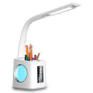 wanjiaone LED Schreibtisch Lampe mit USB Ladeanschluss, Augenpflege Tisch Lampen, Mädchen dimmbar Touch-Steuerung, Student Leselicht, mit farbigen Nachtlicht, Stift-Halter, Weiß, 10W