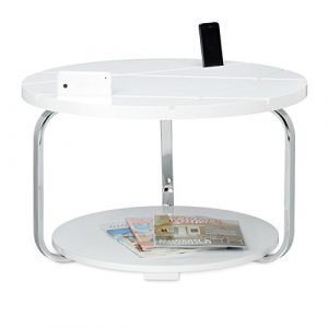 Relaxdays Couchtisch mit Tablethalterung HBT: 42 x 70 x 70 cm großer runder Holztisch mit Rollen als Halter für Smartphones und Tablets moderner Tisch als Wohnzimmertisch und Tabletständer, weiß