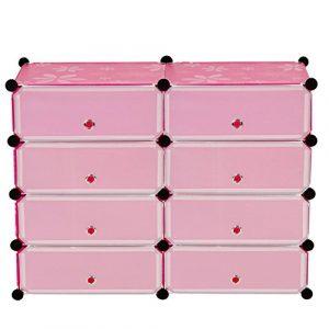 Regalsystem Sydney T308, Schuhregal Steckregal Schrank, 8 Boxen je 17x45x35cm pink
