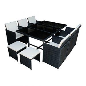 Panana Lounge Set in Rattanoptik mit Glastisch Cube Sofa Garnitur Sitzgruppe Gartenmöbel, 6 Sessel + 4 Hocker + 1 Tisch