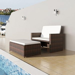 Festnight 3 in1 Rattan Lounge Set Polyrattan Loungemöbel Loungeset Loungegruppe Braun